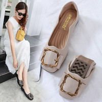 Wholesale nursing shoes summer for sale - Group buy Moccasin Shoes Shallow Mouth Dress Flats Women Casual Female Sneakers Buckle Square Toe Moccasins Nurse New Summer Metal