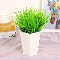 ingrosso arrangiamenti artificiali artificiali-1 PC 7 Filiali Grass Green Plant falso Composizione di fiori Erba Fiore artificiale di plastica di Natale di nozze per la casa