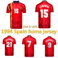 football espagnol achat en gros de-1994 1995 1996 maillot de foot rétro Espagne Espagne Coupe du monde de football Espana 1994 Hierro Guardiola Luis Enrique Vintage maillot de football classique