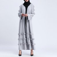Wholesale solid belt handmade resale online - 2019 winter new small fresh outside women muslim handmade decals solid color long coat dignified atmosphere Middle Eastern robes