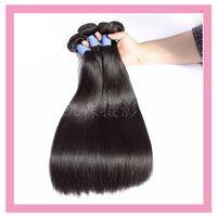 bakire saç düz inç toptan satış-Hint Ham Virgin İnsan Saç 3 Paketler 8-30 inç Düz 9A Çift Saç Atkı Düz Doğal Renk 3 demetleri