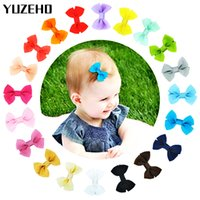 Wholesale hairpins mix resale online - 100Pcs quot Bow Hair Clips Simple Bow Mixed Pure Color Ribbon Hair Grips Hairpins Barrettes for Teens Kids Toddlers