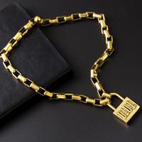 cerraduras para cadenas al por mayor-Bloqueo de lujo de la vendimia colgante collar para las mujeres estilo hip hop collar de cadena de bloqueo regalo para el amor famoso collar accesorios de la joyería