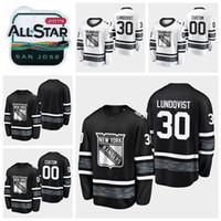 ingrosso stelle di camicia nera-2019 All Star Game Henrik Lundqvist Personalizza maglie da hockey New York Rangers Maglia bianca nera # 30 Henrik Lundqvist Camicie cucite