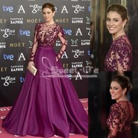 Wholesale ivory line zuhair murad resale online - 2019 Burgundy Zuhair Murad Red Carpet Evening Dresses Long Sleeve Beads Applique Sheer Illusion Bodice Formal Prom Gowns Party Dressess