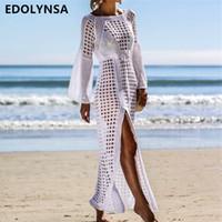 langes weißes tunika-kleid großhandel-2019 Häkeln Sie Weiß Gestricktes Strand Vertuschen Kleid Tunika Lange Pareos Badeanzug Vertuschung Schwimmen Sie Robe Plage Beachwear # Q716