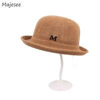 Wholesale womens elegant hats resale online - Bucket Hats Women New Trendy Leisure All match Letter Daily Korean Style Dome Elegant Womens Ladies Girls Hat High quality