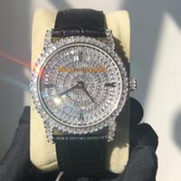 silber diamant uhren männer groihandel-Baguettes Diamant Luxusuhr Iced Out Uhr ETA 9015 Automatik 40MM Men Silver Rose Gold Wasserdicht 316L Edelstahl-Set Diamant CZ