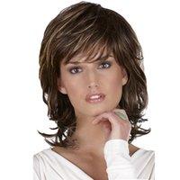 weave de cabelo sintético ombre venda por atacado-cabelo novo mulheres marca perucas cor ombre médio cabelo de 16 polegadas para o Dia das Bruxas do cabelo 100% sintético com frete grátis tampa de tecelagem