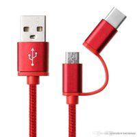 usb multi charge cable venda por atacado-UK0001 vendas 2-em-1 USB 2.0 Macho Para USB 3.1 Tipo C / Micro USB Tecer Dados Cabo de Carregamento Rápido para Android # 156 multi cores