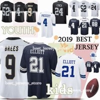 Wholesale drawing cotton for sale - Group buy Kids Dallas Cowboys New Orleans Saints Oakland Rainders jerseys child Drew Brees Dez Bryant jersey YOUTH High quality