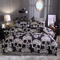 ingrosso letti matrimoniali-Copripiumino nero Queen Size Luxury Sugar Skull Bedding Set King Size 3D Skull Beddings e Set letto Federa Set 2/3 pezzi