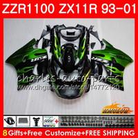 carenado para 96 kawasaki zx11 al por mayor-Cuerpo para KAWASAKI NINJA ZX-11R ZZR1100 ZX11R 93 94 95 96 97 31HC.11 ZZR 1100 llamas verdes ZX 11R ZX11 R 1993 1998 1999 2000 2001 Carenados