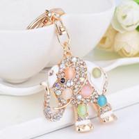 Wholesale metal elephant keychain for sale - Group buy Crystal Alloy Keychain Fashion Elephant Design Metal Animal Key Chain Keyring Hanging Pendant Girl Car Handbags Accessories