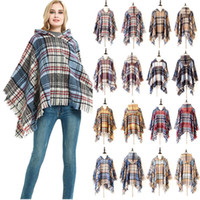 Wholesale purple shawls scarves for sale - Group buy New design women hooded cloak female lattice fringed pashmina unisex long style grid warm Shawls