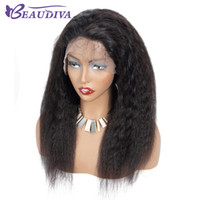 Wholesale virgin human hair afro wig resale online - 360 Full Lace Human Hair Wigs afro Kinky Straight Human Hair Lace Front Wigs Density Remy Virgin Brazilian Hair