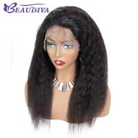 kek olmayan düz sade bakire dantel perukları toptan satış-360 Tam Dantel İnsan Saç Peruk afro Kinky Düz İnsan Saç Dantel Ön Peruk 130% Yoğunluk Remy Bakire Brezilyalı Saç