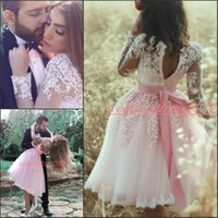 Wholesale mini white lace short strapless dress for sale - Group buy Modern Arabic Lace Short Homecoming Dresses Long Sleeve Tulle Knee Length Club Wear Mini Party Prom Dress Graduation Bridesmaid Dresses