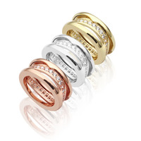 Wholesale gear pattern for sale - Group buy Luxury Designer Jewelry men Rings Titanium steel jewelry hollow single row drill ring gear pattern inlaid diamond ring K gold