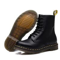 laço da senhora da forma venda por atacado-2019 botas de inverno ferramental couro genuíno botas de Martin moda casual senhoras sapatos mulheres sapatos ankle boots à prova d 'água salto robusto DR1460