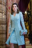 iki parça uzun kollu gece elbiseleri toptan satış-Zarif Açık Anne Gelin Elbise Takım Elbise Kısa Iki Parçalı mavi Uzun Kollu Damat Anne Elbise Düğün Için Dantel İngiltere Arapça Abiye