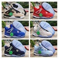 filé tozu toptan satış-Yeni Georgetown Marquette 4 Oklahoma PE Florida Michigan Basketbol Ayakkabı 4 s UNC Toz Mavi Serin Gri Silt Kırmızı Erkek Tasarımcı Spor Sneakers
