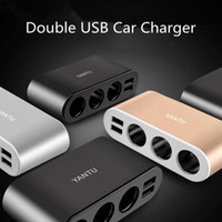 ingrosso dc car plug-Port 3 Way Auto Car Charger Socket Splitter caricabatterie Plug Adapter Doppio USB con cavo CC 12-24V Nuovo HHA129