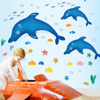 Wholesale cartoon walls home resale online - New cute cartoon dolphin wall stickers living room bedroom children room stickers home accessories background wall stickers