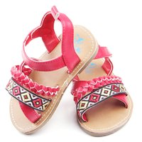 Wholesale toddler girl rubber sandals resale online - Summer Toddler Sandals PU Non slip Rubber Baby Shoes Girls New Cute Newborn Infant Baby Girls Bowknot Princess Shoes