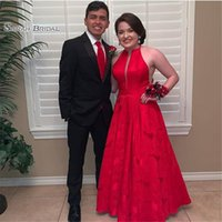 Wholesale fashion sale shirt images resale online - Delicate Red Halter Floor Length Sleeveless Prom Dresses High End Quality Party Dress In Hot Sales