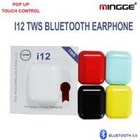 Wholesale red speakers brand resale online - Bluetooth Earphones i12 TWS True Wireless Mini Earbuds Smart Touch Headphones High Quality Speaker Mic Bluetooth Headset