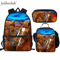 школьные сумки для леопарда оптовых-Jackherelook Crazy Horse животных Leopard ранцы Установить 3шт Детские школьные рюкзаки и ранцы для мальчиков девочек Детский Schoolbag Холст Учиться в России