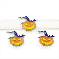 colliers de chien bricolage accessoires achat en gros de-50 PCS 8 MM émail Halloween citrouille Slide Charms DIY Accessoire Fit 8mm Bracelet Pet Colliers Chien Bandes Porte-clés