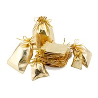 altın gümüş takı torbalar toptan satış-100 adet / grup Altın Gümüş İpli Hediyeler Çanta 7x9 cm Takı Organizatör Torbalar Saten Noel Düğün Ambalaj Şekeri çanta