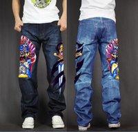şişkin baskılı kot pantolon toptan satış-Erkek Uzun Pantolon Baggy Gevşek Fit Jeans Rap Hip Hop Paten Denim Baskı Pantolon Düz Streç Rahat Pantolon Firavun