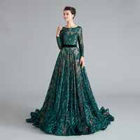 MG001 Sequined Lace Teal Evening Dress Baetau Neck Long Sleeve Modest Mother of The Bride Dresses with Train Formal Dresses for Weddings