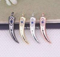 cuentas hechas cuerno al por mayor-Cuentas pendientes de cobre del metal de 10pcs Micro Pave CZ Horn, Horn encantos CZ Para la elaboración de joyas Collar