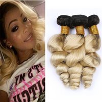 Wholesale brazilian loose wave two tone hair resale online - Black and Blonde Ombre Loose Wave Hair Weave Bundles Two Tone B Ombre Wavy Virgin Human Hair Wefts Extensions