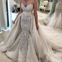 Wholesale mermaid wedding dresses removable train for sale - Group buy Gorgeous Detachable Train Wedding Dresses Mermaid Sexy Spaghetti Straps Removable Tulle Skirts Applique Bridal Gowns Formal