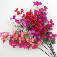 fleurs fuchsia artificielles achat en gros de-Tiges artificielles de bougainvilliers Bougainvilliers en soie spectabilis Fleur Branches d'arbres rose / rouge / blanc / rose rouge / fuchsia pour centres de mariage