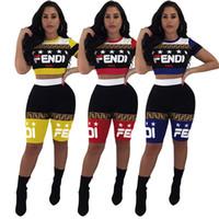 ingrosso moto star-FF Donna Brand Outfit Designer Tuta Star Stampa Patchwork Crop top T-shirt Pantaloncini fende Leggings estivi 2 pezzi Set Sportswear C61001