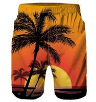 ingrosso paesaggio secco-Coconut Tree Sunset Board Pantaloncini Beach Summer Men Crepuscolo Sky Traspirante Quick Dry Landscape Surf Trunks Costumi da bagno 3D Pantaloni corti