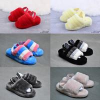 Wholesale furry heels resale online - 2019 New Women wgg Australia Fluff Yeah Furry Slide Boots Fashion Designer Sandals Fur Slides Slippers Slides size