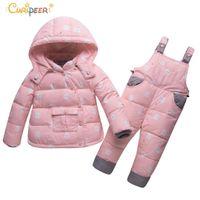 Wholesale hooded infant wears resale online - Children s Winter Clothing Set Boys Girls Duck Down Jacket Pants Suit Thick Outerwear Coats Toddler Newborn Infant Snow Wear