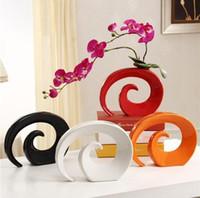 jarrones de naranja al por mayor-Jarrones de cerámica moderna florero para la decoración casera de sobremesa florero blanco Negro Rojo Naranja Selección de colores