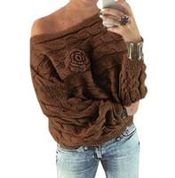 suéteres hechos a mano de las mujeres al por mayor-flores hechas a mano de 2018 nuevas mujeres fuera del hombro suéter femenino de gran tamaño suéter manga del palo de la ropa de sport de la Mujer