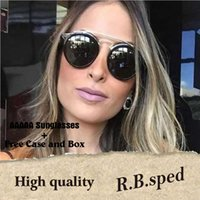 Wholesale gold rimless glass online - Great Quality Glass Sunglasses Round Vintage Chic Steampunk Glasses Men Women Gold Double Bridge lentes de sol hombre with cases and box