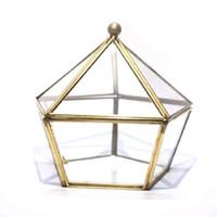 glasabdeckung für blume großhandel-Nordic Geometric Transparent Glas Blume Zimmer Glas Ring Box Ehering Schmuckschatulle Glasabdeckung Innovative Wohnkultur