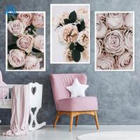 moderne romantische gemälde großhandel-Moderne romantische hellrosa Pfingstrosen Rosen Blumen Leinwand Gemälde Poster Drucke Wandkunst Bilder Schlafzimmer Interior Home Decor