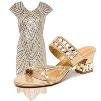 lila kleid strasssteine großhandel-Mode Frau Kleidung Schuhe Match Lila Blau Pailletten Fransen Kleid Elegante Strass Leder Sandalen Frauen Kleidung Größe S-XL